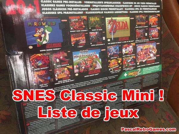 Dos de la boite de la SNES MINI avec la listes des jeux